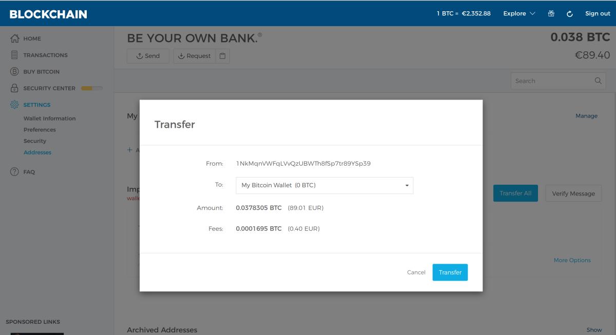 Import a paper wallet into Blockchain info - Coineva